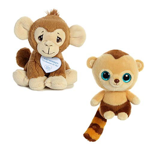 Bundle of 2 Cute Stuffed Monkeys, stuffed animals for baby & kids, Kiki Monkey plush 8.5' and Roodee 8', set of 2 cute monkeys, quality stuffed animals - small stuffed monkey for baby