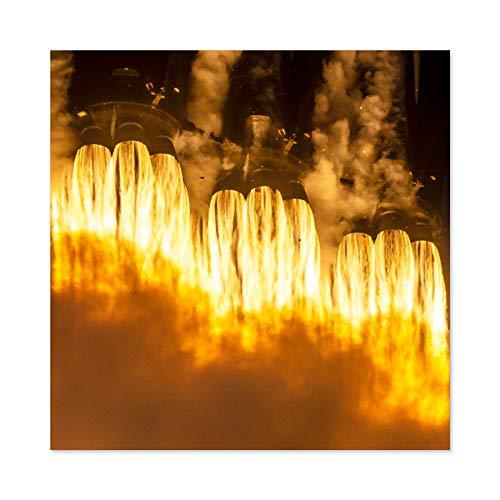 Space X Arabsat-6A Mission Rocket Thrusters Premium Wall Art Canvas Print 24X24 inch Spazio Razzo Parete