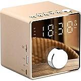 Réveil haut-parleur portable Bluetooth sans fil radio-réveil numérique, mini miroir TF/AUX/lecture USB/Bluetooth horloges radio FM, mains libres luminosité réglable Weckeren,D'or