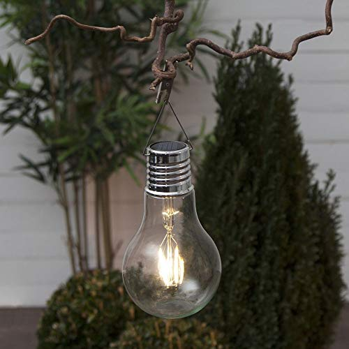 Ledlamp op zonne-energie, gloeilampvorm met klem om op te hangen, tuinverlichting, draadloos, tuinverlichting, terras, balkon, buitenverlichting, feestverlichting, lantaarn, transparant, solarlamp, moderne buitenverlichting