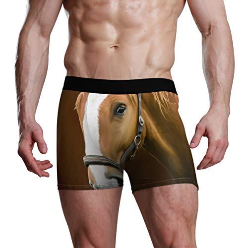 Calzoncillos Boxer para Hombres, niños, jóvenes, Ropa Interior, Transpirable, Caballo, Animal, Suave, cómodo, Bulto, Bolsa, Calzoncillos