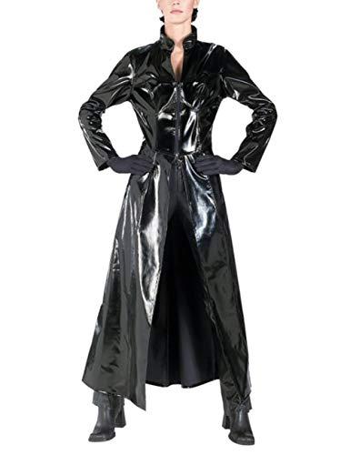 Unisex PVC Leder Matrix Festlich Bekleidung Reloaded Reloaded Trinity Mantel Lange Body Halloween Cosplay Kostüm Für Erwachsene (Color : Schwarz, Size : S)