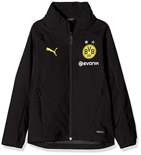 PUMA Kinder BVB Rain Jacket Jr with Sponsor Logo Regenjacke, Black/Cyber Yellow, 152