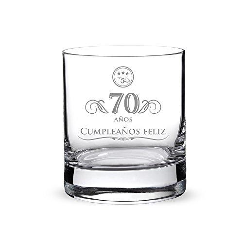 AMAVEL Vaso Whisky Hombres Vidrio Grabado 70 Años