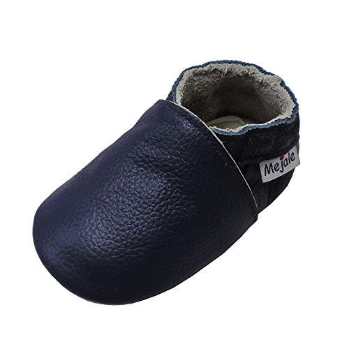 Mejale Premium Weiche Leder Lauflernschuhe Krabbelschuhe Babyschuhe Mokassin(Marineblau,6-12 Monate)