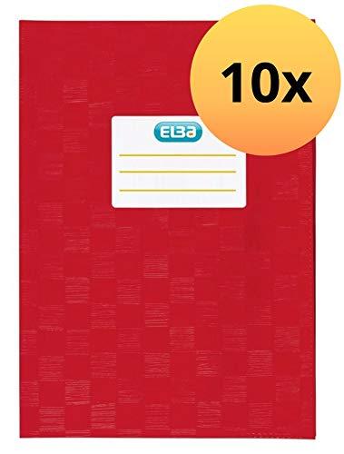 ELBA 100420085 Heft-Hüllen A5 10er Pack geprägt in Bast-Optik Heft-Umschlag in rot, Buch-Schoner mit Einband, flexibel & abwischbar