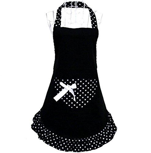 Hanerdun Damen Schürze Kochschürze Küchenschürze mit Taschen Schleife Bowknot Schwarz Gute Qualität Baumwolle Nett Süß für Damen Frauen Kochen Grillen Backen Geschenk Idee
