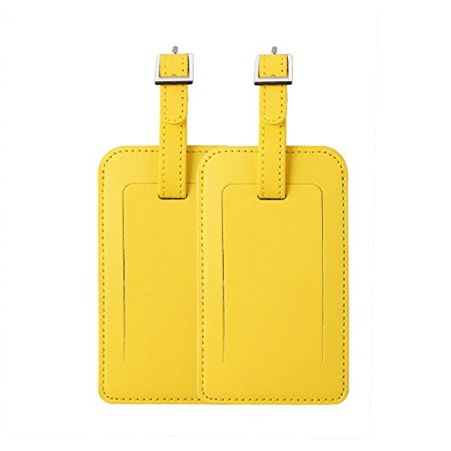 uxcell Luggage Tags,PU Leather Travel Tags Luggage Identifier Name Holder Address ID Labels for Baggage Suitcases 2 Pack,Yellow