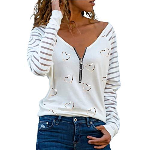 HUAJIA Tops Sexys para Mujer, Blusa De Moda De Primavera Otoño, Camiseta Suave con Cremallera De Moda con Estampado De Corazón De Amor De Manga Larga Blanco * M