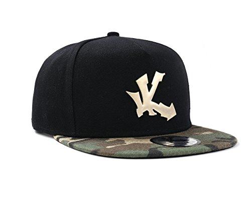 Underground Kulture Noir et Camouflage Casquette de Baseball Réglable (Black & Camo Snapback Cap)