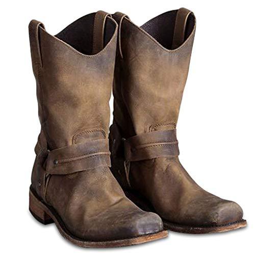 MWyanlan Männer Western-Cowboy-Stiefel Vintage-Quadrat-Kopf-Ritter Stiefel Herren Hohe Hilfe Land-Art-Arbeitsstiefel Frühling Herbst Wandern Trekking-Jagd,Braun,43