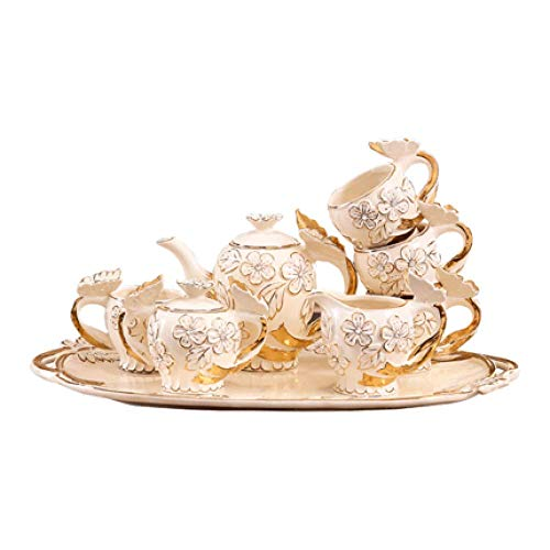Kaffeetassenset Teeset Nachmittagstee Kreatives Keramik Teeset mit Tablett 8-teiliges Set A