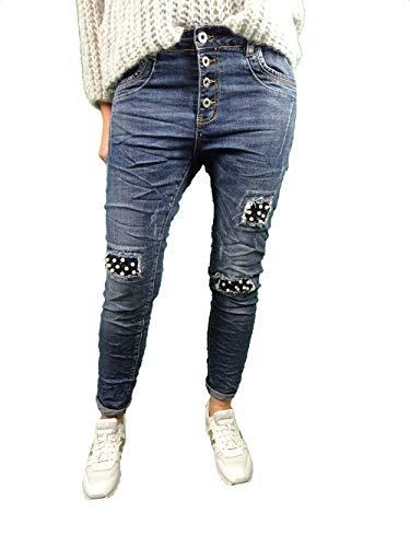 Karostar by Lexxury Denim Stretch Baggy-Boyfriend-Jeans Boyfriend 4 Knöpfe offene Knopfleiste weitere Farben (XL-42, Dark Denim perlen)