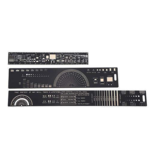 GPWDSN 15 Uds 15cm 20cm 25cm Regla de PCB Multifuncional Herramienta de medición Resistor Condensador Chip IC SMD diodo Transistor Paquete 180 Grados