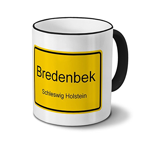 Städtetasse Bredenbek - Design Ortsschild - Stadt-Tasse, Kaffeebecher, City-Mug, Becher, Kaffeetasse - Farbe Schwarz