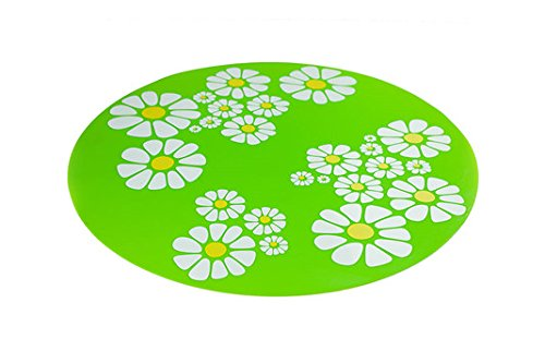 ELEOPTION Silicone Pad Non-Slip Mat for 1.6 L Automatic Water Fountain Replacement Mat Fountain (1PCS Flower Mat, Green)