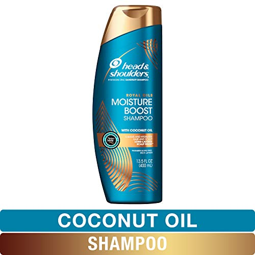 Head and Shoulders Shampoo Moisture Renewal Anti Dandruff Treatment and Scalp Care Royal Oils Collection with Coconut Oil for Natural and Curly Hair 135 fl oz