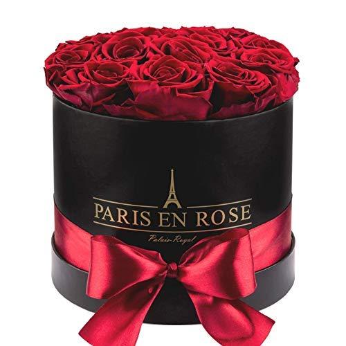 PARIS EN ROSE Rosenbox Palais-Royal Classic | 3 Jahre haltbar | Schwarze Rosenbox mit bordeauxroten Infinity Rosen | Flowerbox mit 13-15 konservierten Blumen