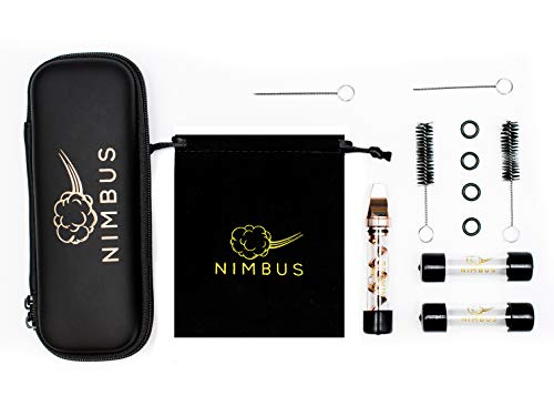 Nimbus Flat Mouthpiece Glass Pipe Mini for Herbs 2 Extra Glass Tubes, 2 Cleaning Brush, 2 Cleaning Needles, 4 O-Rings, 5 Rubber Caps Plus Drawstring Bag & Zipper Case (Rose Gold)