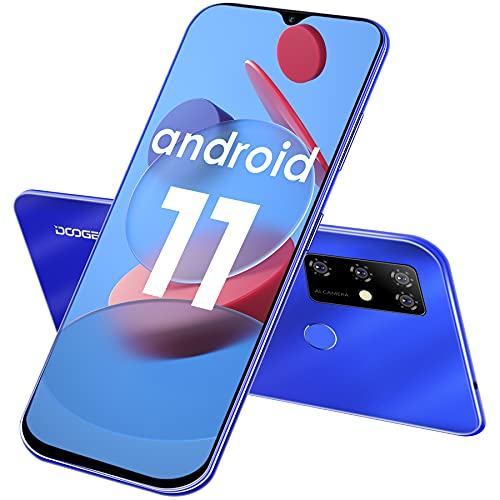 Smartphone Libre, DOOGEE X96 Pro (2021) Android 11 Moviles Baratos, Pantalla HD+ 6.52  DotDisplay, 5400 mAh, 4GB + 64GB (SD 256GB), Cámara Cuádruple de 13 MP, Dual SIM Teléfono Móvil, GPS, OTG (Azul)