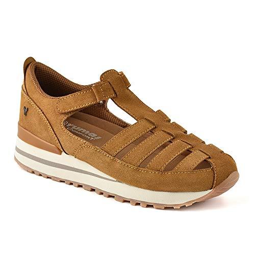Zapatilla Sneaker Yumas Melania Cuero Fabricado en Piel Vuelta Plantilla Confort Látex para Mujer