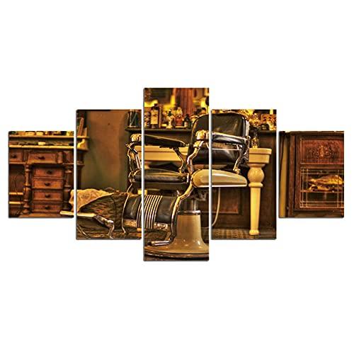 DUODUOQIAN Sillón De Peluquería 5 Cuadros En Lienzo Listo para Colgar Artístico Pintura Cuadros, Modernos Estilo Salón Dormitorio Print Pared, 150×80Cm