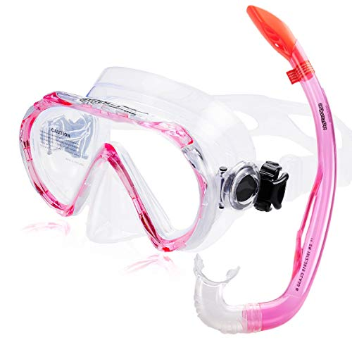 AQUAZON Korfu Hochwertiges Schnorchelset, Tauchset, Schwimmset, Schnorchelbrille mit Tempered Glas, Schnorchel mit semi Dry top für Kinder, Jugendliche Von 7-14 Jahren, Farbe:pink