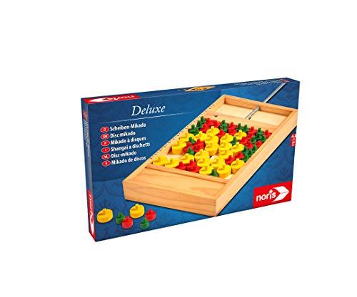 Noris 606101929 Deluxe Scheiben Mikado, Der etwas andere Spieleklassiker mit Spielmaterial aus Holz, ab 6 Jahren
