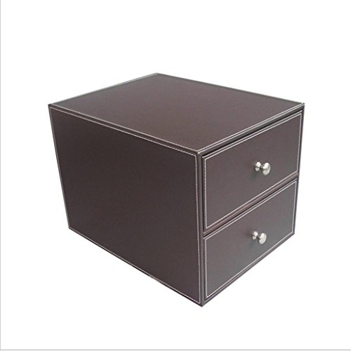 KKLL PU-Leder-Desktop-Aktenschränke 2 Schicht Drawer Storage Box Mode Kreative Bürobedarf lnformationen Aufbewahrungsschrank , coffee