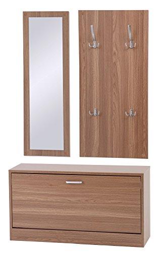ts-ideen–Conjunto de 3piezas: perchero, espejo y mueble zapatero en madera de nogal de color claro.