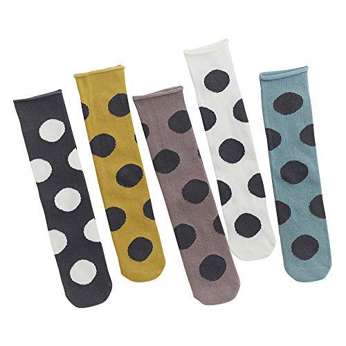 ANIMQUE 5 Paar Mädchen Socken Knielang Baby Kinder 33cm Lang Gerade Socken ohne Absatz Kniestrümpfe Baumwolle Groß Polka Punkte