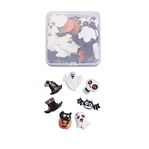 Stiesy - 35 piezas por caja de cuentas para Halloween, diseño de cabujones de resina, color negro