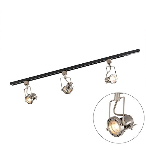 QAZQA Modern Schienensystem/Spotlight/Deckenspot/Deckenstrahler/Strahler mit 3-flammig Spot/Spotlight/Deckenspot/Deckenstrahler/Strahler/Lampe/Leuchtes 1-phasig schwarz mit Stahl /