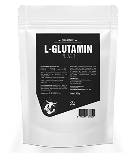 500g L-GLUTAMIN veganes Pulver | Chrystalline Powder | freie Aminosäure | Regeneration + Muskelaufbau | Top Qualität + optimiert mit Vitamin B6