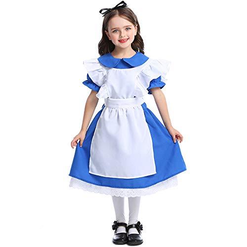 XYL jurk bekleding jurk feest/feestkostuum outfit/verjaardag Child Cosplay dienstmeisjes dragen donkerblauwe meisjes kostuums prinses jurk