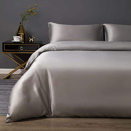 King Size Duvet Cover Set Grey S...