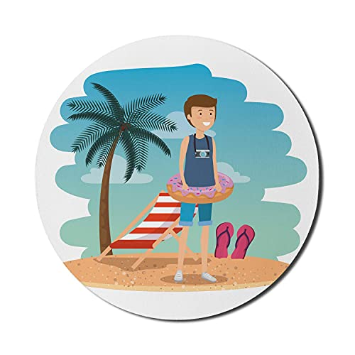 Donut-Mauspad für Computer, lächelnder Junge am exotischen Strand im Sommer und Donut-förmiges Pool-Float-Kunstbild, rundes, rutschfestes, dickes, modernes Gaming-Mousepad aus Gummi, 8 'rund, weiß, me