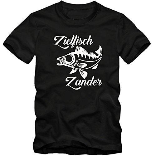 Kinder unisex T-Shirt Zielfisch Zander Angeln Fischen Kder Fun Spass Tee, Schwarz, 12-14 Jahre (152-164cm)