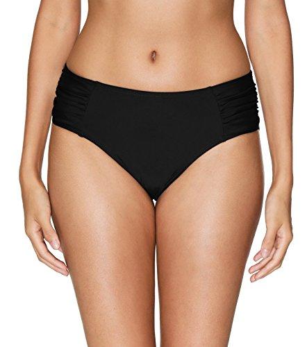 ALove Women Ruching Bikini Bottom Mid Waist Board Shorts Swim Panty Black Medium