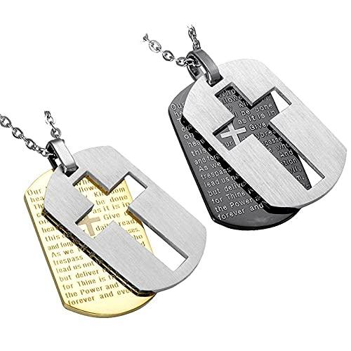 Collar Hombre Plata,Collares bíblicos cruzados de doble capa para hombres, señores de la Biblia, identificador de perros, accesorios de joyería