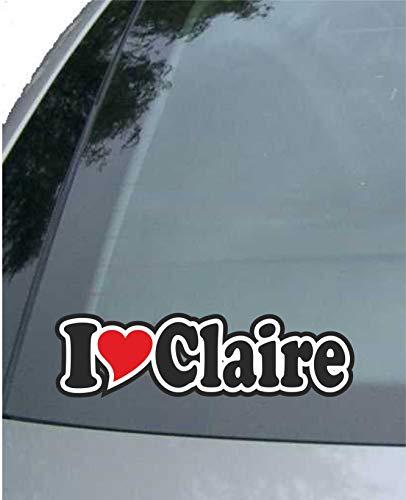 JINTORA - Etiqueta - Pegatina para el Coche - I Love Heart - Amo con Corazon 15 cm - I Love Claire - Camión portátil con Ventana - Pegatina con el Nombre de la Mujer niño Hombre