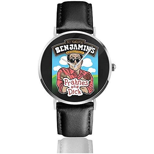 Unisex Waynes World Benjamins Praline und Dick Flavour Ice Cream Uhren Quarz Lederuhr mit schwarzem Lederband