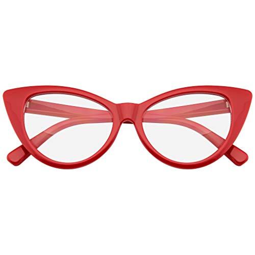 Super Cat Eye Occhiali Moda Vintage Mod Clear Lenti Occhiali (Rosso)
