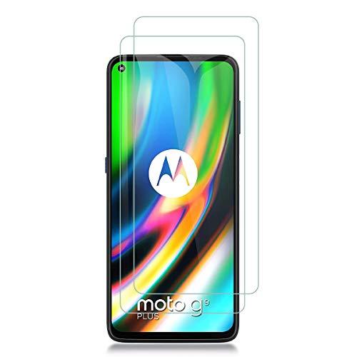 Aerku Panzerglas Schutzfolie für Motorola Moto G9 Plus, 9H Festigkeit HD Anti-Kratzer Folie Ultra Glatte Film Bildschirmschutzfolie Blasenfreie Panzerglasfolie für Motorola Moto G9 Plus[2Stück]-Transparent