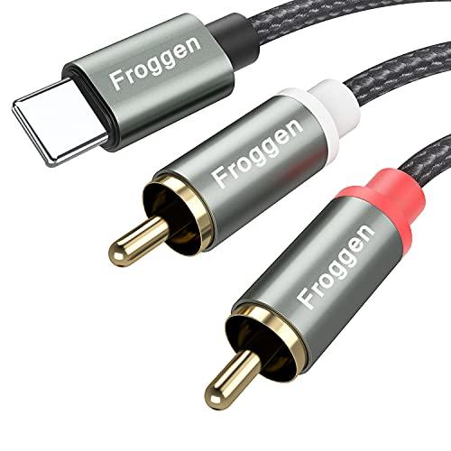 Froggen Cinch Kabel Cinch auf Klinke Kabel Smartphones Klinke Audio Kabel HiFi Aux Chinch Kabel Adapter für Tablets, Heimkino, Smartphones, Stereoanlage, Lautsprecher, TV usw. (1M)