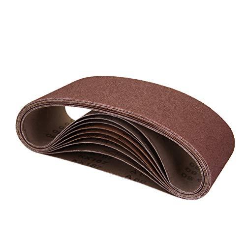 POWERTEC 110090 4 x 24 Inch Sanding Belts   80 Grit Aluminum Oxide Sanding Belt   Premium Sandpaper For Portable Belt Sander – 10 Pack