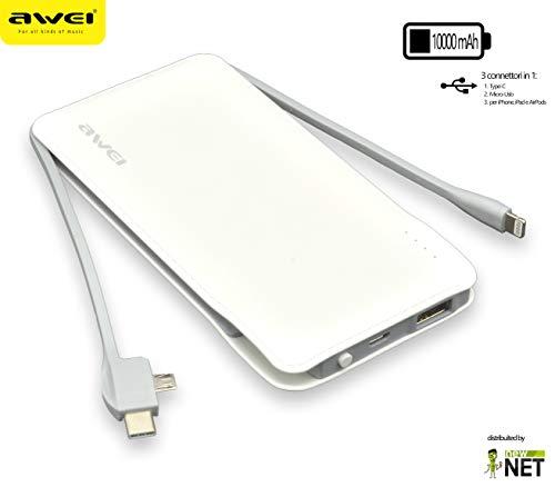 Power Bank Ultra Slim de 10000mAh Blanco Compatible con LG Optimus L3, Optimus L3II, Optimus L4II, Optimus L5, Optimus L5II, Optimus L7, Optimus L7II, Trolley, Optimus Life, Optimus Net,