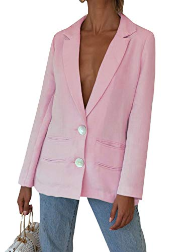 R.Vivimos Women's Fall Long Sleeve Linen Casual Basic Thin Coat Blazer (Large, Pink)