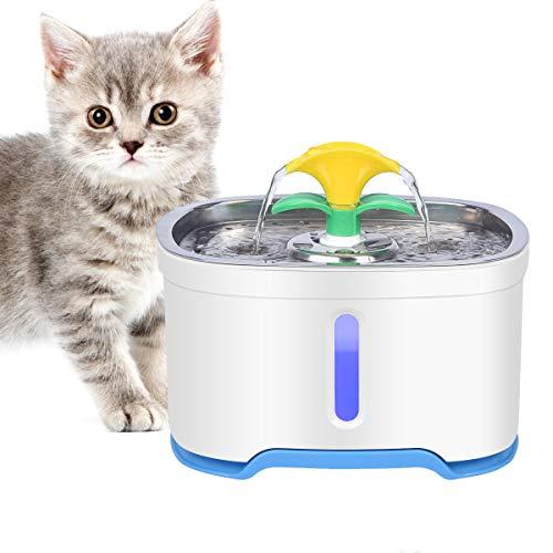 RIOGOO Fuente de Agua para Gatos, Bomba de Apagado automático de 84 oz / 2.5L, dispensador de Agua para Fuente de Agua para Perros súper silencioso para Gatos, Perros, Mascotas múltiples