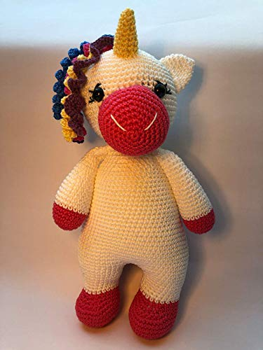 Peluche Licorne 28cm crochet en coton pour enfant